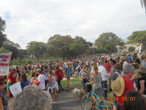 Crowds roll in after marching